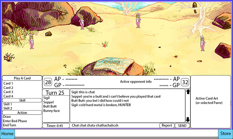 Furoticon Online Desert Background with First Draft Gameplay Elements