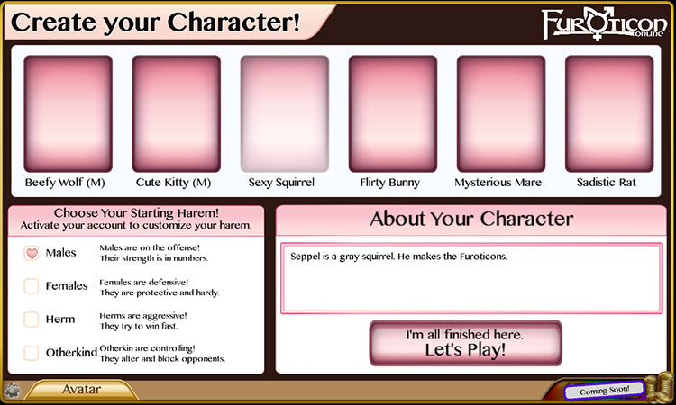 Furoticon Online Character Creation